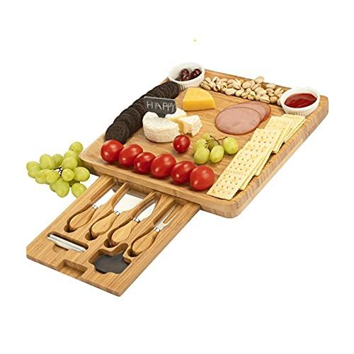 Tablero de corte de queso de deslizamiento y conjunto de regalo de cuchillo y cuchillo, plato de carbucherie de bambú que sirve tablero de carne, regalo ideal para boda, casas de casa, ducha nupcial,