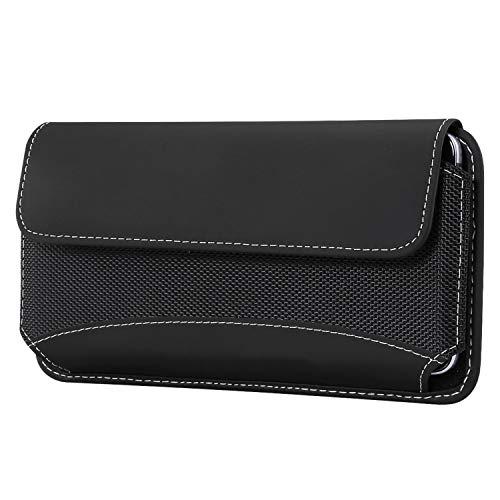 Shidan Haltbares Nylon und PU-Leder Gürteltasche Handyhalter für iphoneXS Max/8p/7p/6p, Samsung S10+/note9/8/S9+/S8+/S7edge+/S6edge+ (Passt mit Schutzhülle an)