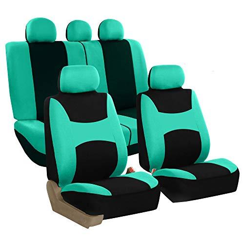 Sleek /& Stylish Split Option Bench 5 Headrests Front /& Rear Bench BDK Beige Trim Black Car Seat Covers Full 9pc Set OS-334-BG/_amj