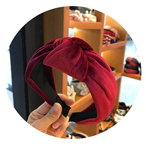 Boutique haaraccessoires vrouwen fluweel midden geknoopt Brede kant hoofdband wilde hoofdband wassen sport haarband hoofddeksel,Zwart Groen size Bourgondy