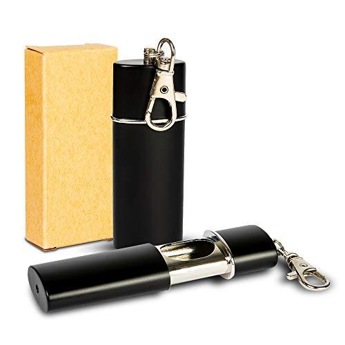 Taschen Aschenbecher für Unterwegs - Geruchsdicht - klein mobiler tragbarer - Mini Taschenaschenbecher Reiseaschenbecher für Handtasche zum Mitnehmen - geruchloser Ascher (Schwarz)