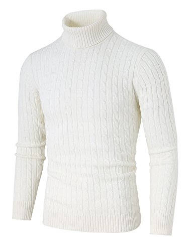 uxcell Men's Turtleneck Sweaters Ribbed Cable Casual Turtle Neck Thick Sweater Pullover White 38
