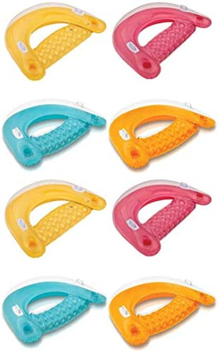 Intex Sit N Float Inflatable Colorful Floating Loungers 8 Pack Colors Vary product image