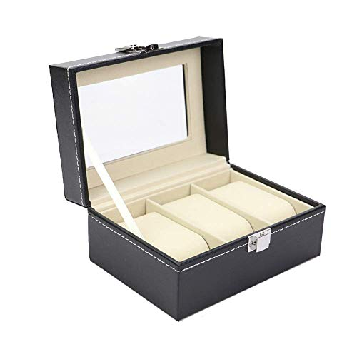 Manyao Watch Box 3 Watch Box Display Organizer PU Leather Watch Case Holder With Compartments Transparent Window Jewellery Display Box With Lid Removable Pads For Men/Women Watch Organizer