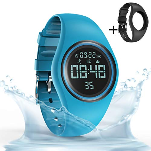 synwee Sports Fitness Tracker Watch, IP68 Waterproof, Non-Bluetooth, with Pedometer/Vibration Alarm Clock/Timer,for Kid Children Teen Boys Girls (Blue)