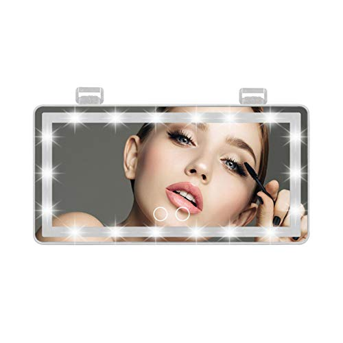 Mirror de vanidad de Visera de Coche, Espejo de Maquillaje Universal de Coche con Luces LED para camión de automóvil SUV, Espejo de Vista Trasera 3 Colores claros Espejo de vanidad