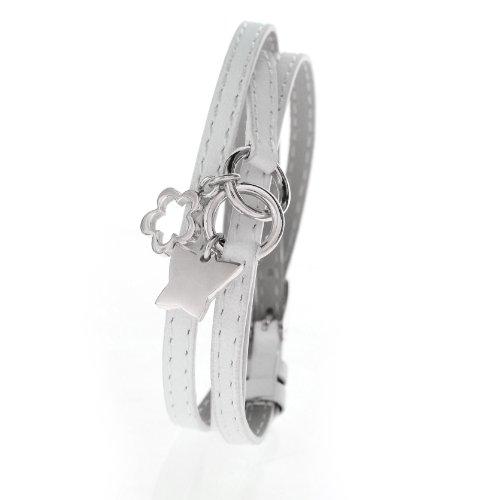 Damen Charms-Lederarmband Weiss dreifach gewickelt - Schmetterling und Blume aus Edelstahl Silber Farbe SB 9361.S - Länge verstellbar 17,5 bis 19cm