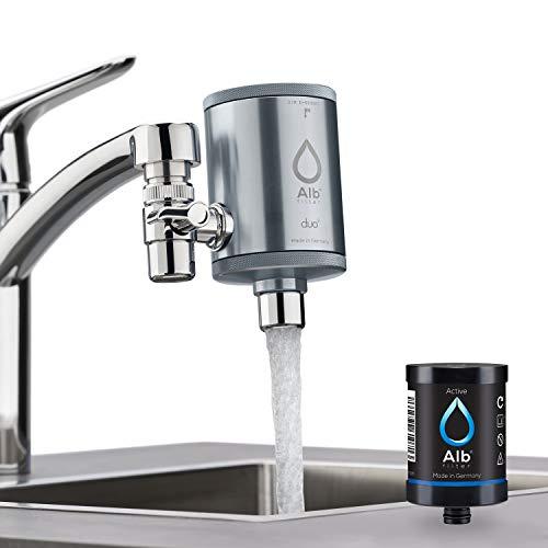 Alb Filter® Duo Active Trinkwasserfilter | Armatur Anschluss | Filtert Schadstoffe, Chlor, Blei, Pestizide, Mikroplastik | Set mit Gehäuse und Kartusche | Made in Germany Titan
