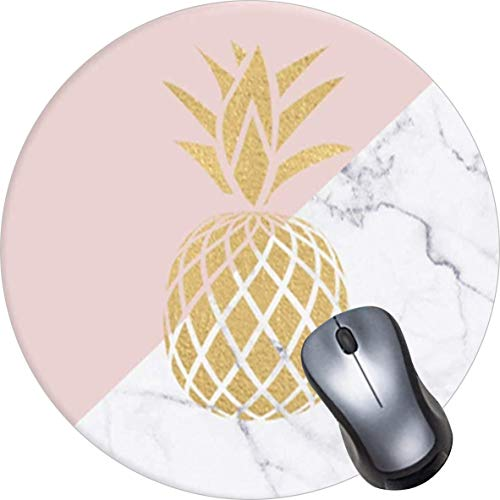 OTCEO Mouse Pad, Round Mandala Mouse Mat, Cute Mouse Pad with Design, Non-Slip Rubber Base Mousepad,Waterproof Office Mouse Pad, Small Size-Gold Pineapple Marble Black White Pink