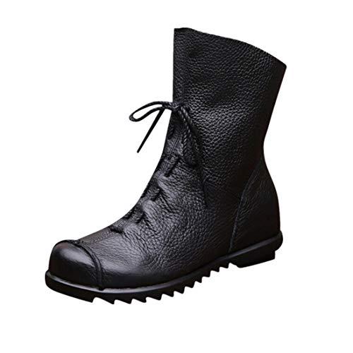 BHYDRY Schuhe Damen Retro Stiefel Weiches Pu Stiefeletten GefüTter Stiefel Mit Niedrigem Absatz Martin Stiefel Flache Schuhe