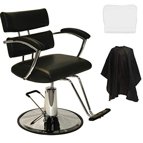 LCL Beauty Plus Line Heavy Duty Extra Large Deluxe Steel Reinforced Hydraulic Lift Styling Chair (Black)