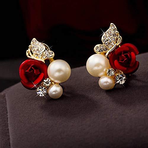 Hunpta@ Damen Ohrringe, 1 Paar rote Rose Blume Imitation Perle plattiert Kristall Ohrringe für Frauen Mädchen, rot, 5
