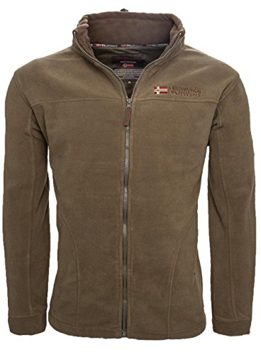 Geographical Norway warme Herren Fleece Winter Übergangs Jacke Outdoor Sweat [GeNo-8-Khaki-Gr.L]