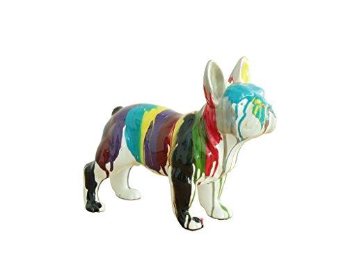 Meubletmoi Bulldog français Statue Art Moderne Multicolore - Design déco