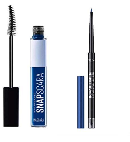 Kit Mascara Snapscara 004 Electric Blue + Resist Liner Waterproof Crayon Stylo Eyeliner 24h - 314 Rebel Blue2 (Kit de 2 Produits)