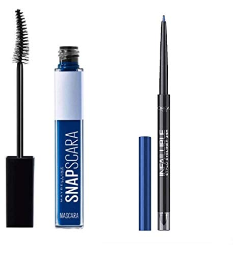 Mascara Snapscara 004 Electric Blue + Resist Liner Waterproof Bleistift Pen Eyeliner 24h - 314 Rebel Blue2 (Set mit 2 Produkten)