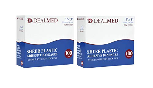Dealmed 1' x 3' Flexible Sheer Plastic Adhesive Bandages, Sterile Non-Stick Pad for Minor Wound Care (200 Count)