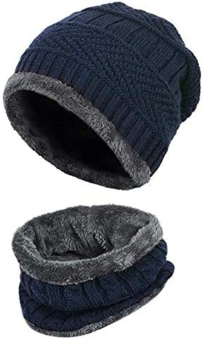 Gajraj 2-Pieces Winter Beanie Hat Neck Scarf Set Warm Knitted Fur Lined For Men & Women product image