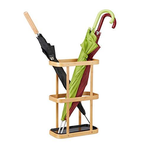 Relaxdays Portaombrelli in bambù con Vaschetta Raccogli Acqua, Ghisa, Marrone, HxLxP: 45 x 29,5 x 15 cm