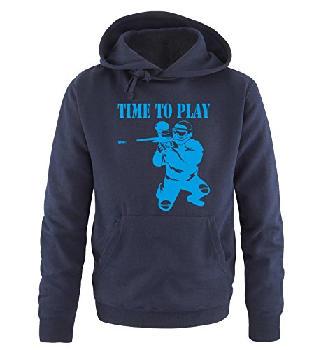 Comedy Shirts TIME to Play - Paintball - Herren Hoodie in Navy / Blau Gr. M