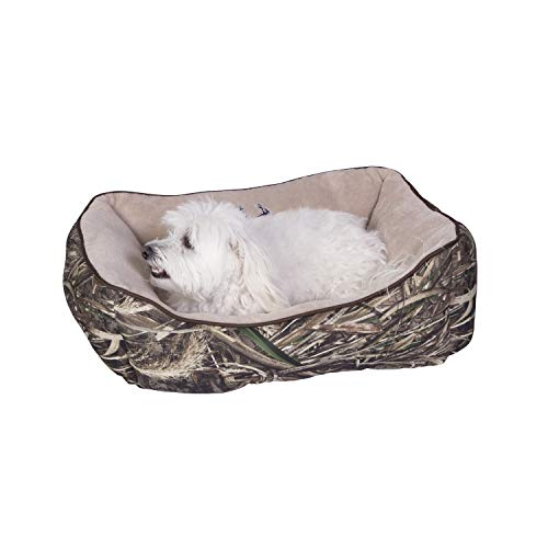 Realtree MAX-5 Camo Premium Bolstered Sofa Lounger Pet Bed for Dogs and Cats Realtree MAX-5/Taupe/Brown Piping 25 X 21 Inches