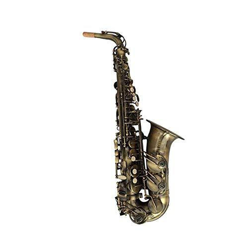 Wuhuizhenjingxiaobu Saxofón de cobre antiguo retro E-Flat Saxo alto, apto para principiantes para practicar instrumentos de juego, elegante, 66 cm.