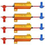 4-Pack 50W 6ohm LED Resistore di Carico per Indicatori di Direzione Luce in Esecuzione Blink Blinker Light- (Fix Hyper Flash, Avviso Cancellatore, Errore Flash Veloce) con 4pcs Filo Metallico Rapido