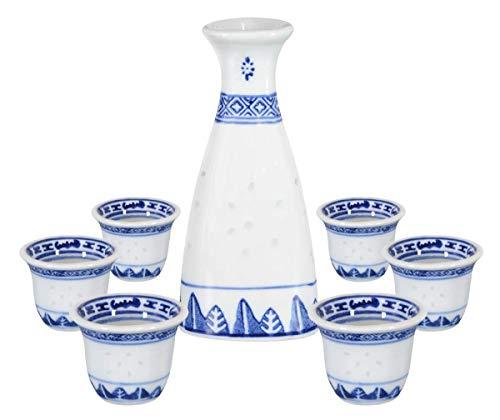 tea&home Sake Set Reiskorn-Design 7-teilig. Service für Reiswein bestehend aus 1 Karaffe 150ml und 6 Trinkbecher 25ml aus Keramik