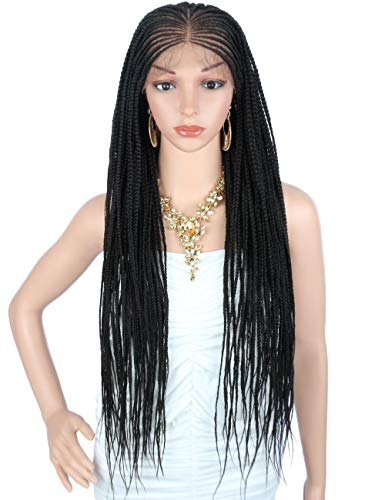Kalyss 31quot Realistic Hand Braided Synthetic Lace Front Wigs for Women 13X6 Wide Soft Lace Area Natural Parting Lightweight Braiding Hair Cornrow Wig Lace Frontal Twist Braids Wigs with Baby Hair