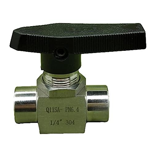 HLY Trading 1/8 1/4 3/8 1/2 pulgadas hembra cierre válvula de bola reductora puerto SS304 acero inoxidable 915 PSI agua gas aceite (especificación: 1/4 pulgadas, voltaje: SS304)