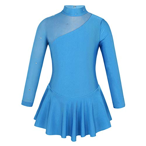 Freebily Mädchen Eislaufkleid Wettbewerb Kostüm Kinder Eiskunstlauf Kleid Kinder Ballettkleid Mesh-Spleiß Gymnastikanzug Sportbody Gr.104-164 Blau 140/10 Jahre