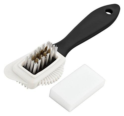 Premium Wildlederbürste - inklusive 4 Schmutzradierer - hochwertige Wildlederbürste - optimale Velourlederbürste um Ihre hochwertigen Schuhe zu putzen (Schwarz)