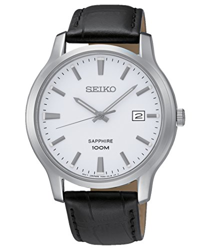 Seiko Quartz Sapphire Silver Tone Dial Leather Band Mens Watch SGEH43