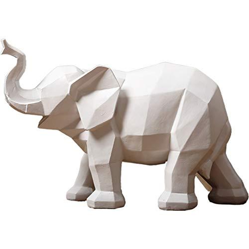 XM&LZ Elefante Escultura, Geométrica Origami Craft Estatuas Decorativas Resina Figuritas Resumen Estatua Ornamento Inicio Oficina Detalles De Decoración Adornos-Blanco 12x8inch