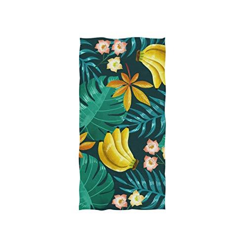FANTAZIO Serviette de Toilette en Coton de qualité supérieure Motif Banane et Feuilles de Palmier