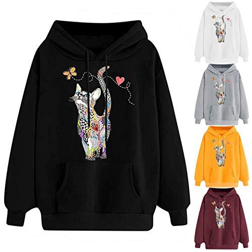SOMESUN Damen Kapuzenpullover Langarm Katzendruck Sweatshirt Herbst Winter Hoodie...
