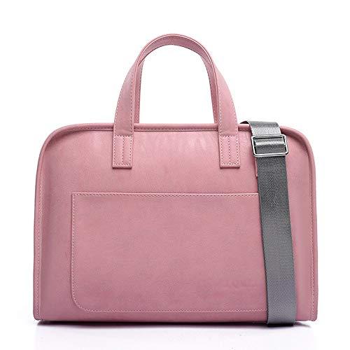 MIMIOOORE PU-Laptop-Tasche wasserdichte Einer Schulter Can Lever 14/15,6 Zoll (Color : Pink, Size : 15.6inch)