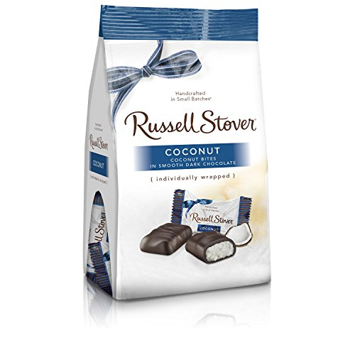 Russell Stover Dark Chocolate Coconut, 6 Ounce Mini Gusset Bag, Sweet Coconut Covered in Rich Chocolate Candy, Individually Wrapped