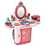 perfectbot 2 in 1 Vanity Set Pretend Play Dressing Table & Suitcase Beauty Make Up Set Gift for Girls