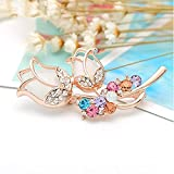 NZDY Fashionable Brooch Pin Fashion Jewely Opal Stone Rose Flower Brooches Rhinestone Couple Love Flower Brooch Pin Birthday Gift Bridal Brooch Pin