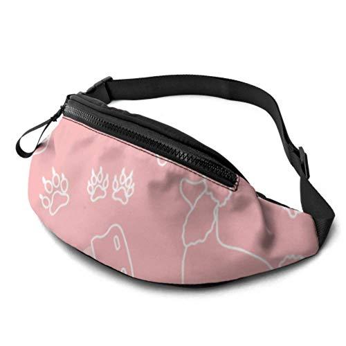 JOCHUAN Workout Taillentasche Pudel Kamm Halsband Dog Track Pink Eine Gürteltasche für Frauen mit Kopfhöreranschluss und verstellbaren Trägern Gürteltasche Taillentasche für Reisesport Wandern