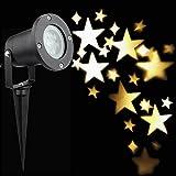 Weihnachts Projektor Licht, Dreamix Wasserdicht HD Muster-Nachtlicht 33FT 3W*4 LED Projektionslampe für Halloween, Weihnachten, Parteien, Hochzeit,Disco und Garten-Dekoration(Warmweißer Schneeflocke)