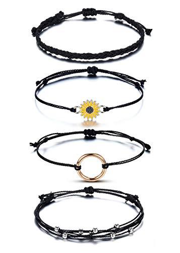 JOVIVI Friendship Wrap Braided Bracelet Anklet for Girls Women,4pc Sunflower Handmade Waterproof Black Woven Rope String Bracelets Adjustable Friends Boho Summer Beach Jewellery Mother Gift