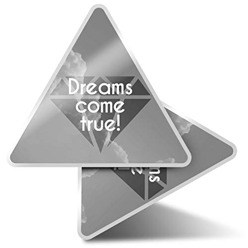 2 x Triangle Stickers 10cm - BW - Dreams Quote Diamond Motivation Fun Decals for Laptops,Tablets,Luggage,Scrap Booking,Fridges,Cool Gift #42319