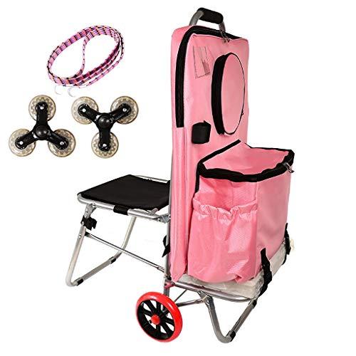 Trolley Artist Combinatie Draagbare vouwen Tas Schilderen Gereedschap kar met stoel, handwagen wielen vervanging voor Art student schilderen, Rolling Push Dolly met Waterdichte canvas tas