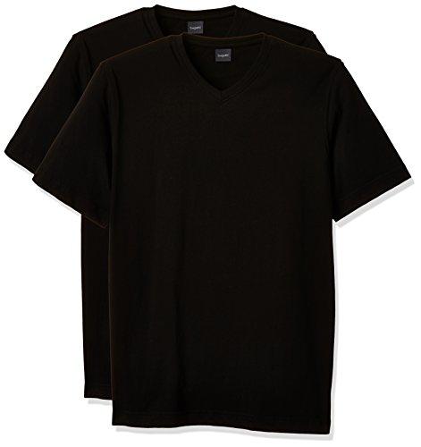 bugatti Herren T-Shirt 2er Pack, 37245 R - 25600, Einfarbig, Gr. XXX-Large, Schwarz (Schwarz 100)