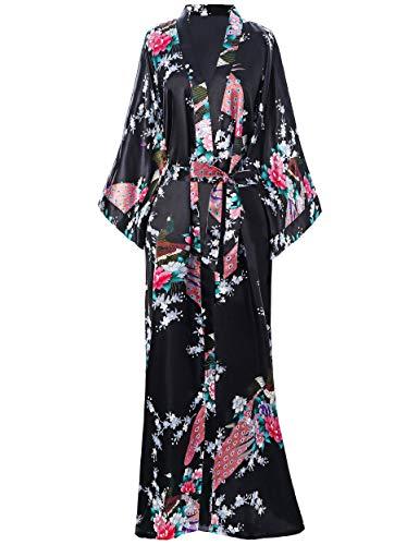 BABEYOND dames ochtendjas maxi lang zijde satijn kimono jurk pauw patroon kimono badjas dames lange robe slaapjas meisje pajama party 135cm lang