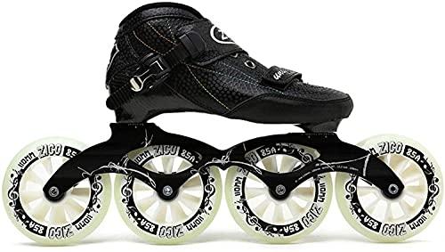 CAIFENG Inline Roller Skates - Adult Professional Inline Skates Shoes for Men and Women Roller Skates for Boys Girls Outdoor Indoor Speed Skating Shoes-10,Blue (Color : Black, Size : 11)