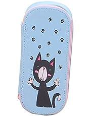 Cosanter Estuche para lápices con diseño de gato pequeño y grande, de lona, para gafas y cosméticos, para adolescentes (azul)