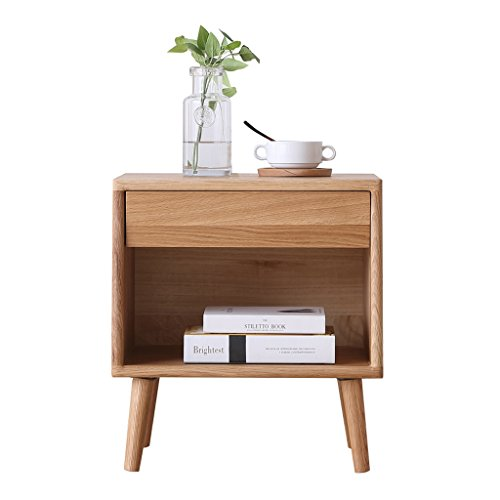 YXF,nachtkastje nachtkastje nachtkastje - houten wasolie olievrij wit eiken nachtkastjes massief hout kluisjes eenvoudige kleine ladekast grootte -35.5x48x52cm WoW